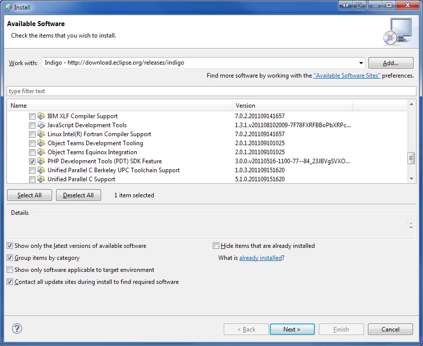 Установка PHP Development Tools в Eclipse